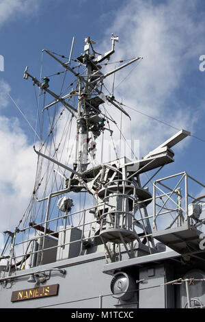 Radar and antenna`s on top of a military ship in the harbor of Liepaja, Latvia - Stock Photo