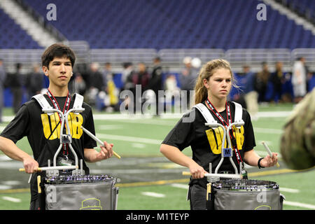 SAN ANTONIO, Texas - Drummers in the 2018 U.S. Army All-American Bowl band rehearse as a whole ensemble for the - Stock Photo