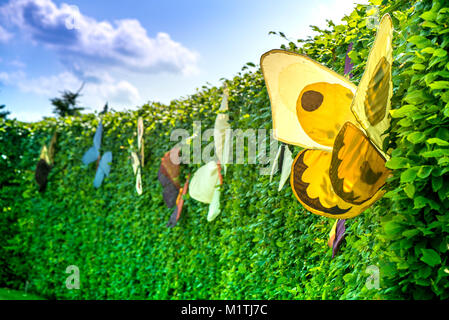 A summer scene of brightly green of from bushes, sheared hedge with beautiful, colorful butterflies. Background - Stock Photo