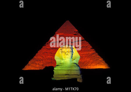Egypt, Cairo. Gizeh or Giza. Sphinx in front of pyramid of Chephren. Sound and Light Show. Unesco, World Heritage - Stock Photo