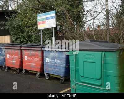New Forest District Council recycling bins in Main Car Park, Town Centre, Lyndhurst, Hampshire, England, UK - Stock Photo