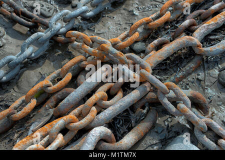 Rusty mooring chains making a pattern on the harbour floor. - Stock Photo