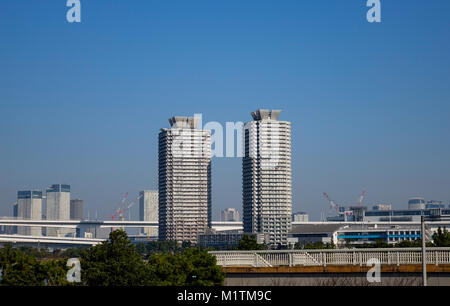 Tokyo, Japan - Jan 4, 2016. Office buildings located at Odaiba District in Tokyo, Japan. - Stock Photo