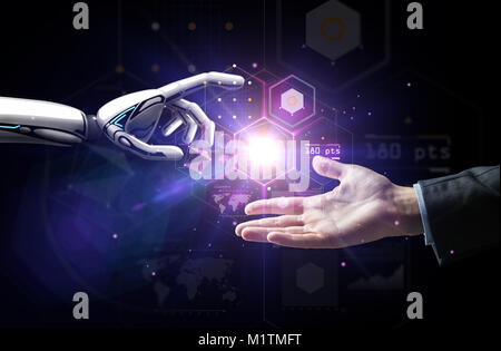 robot and human hand over virtual projection - Stock Photo