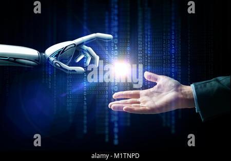 robot and human hand flash light and binary code - Stock Photo