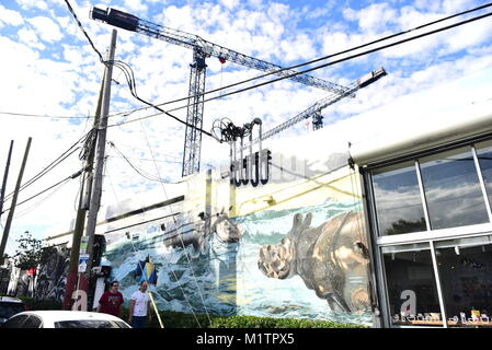 The Wynwood Arts District located in Miami, Florida is home to a community of Art Galleries, Antique Shops, Open - Stock Photo