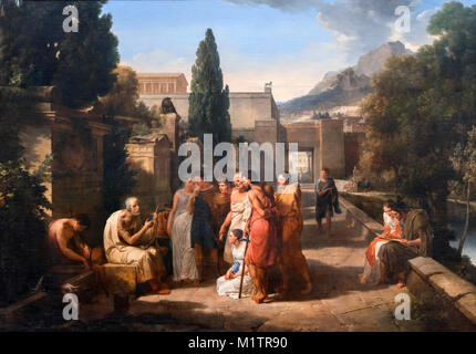 Homer Singing His Iliad at the Gate of Athens by Guillaume Lethiere (1760-1832), oil on canvas, 1811. - Stock Photo