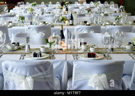 Tables Set Up For Wedding Reception in Marquee in Northumberland ...
