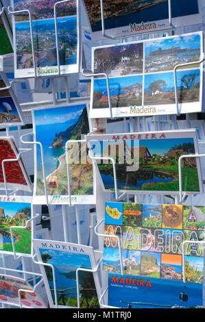 Close-up of a rack of colourful tourist postcards, Madeira, Portugal - John Gollop - Stock Photo