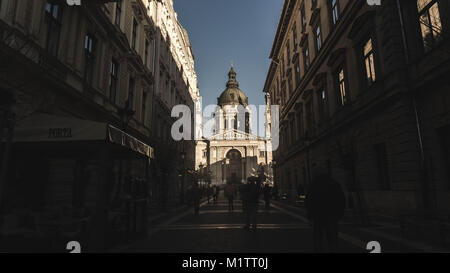 A Photo taken in the city of Budapest. A beautiful street level shot of the magnificent St Stephens Basilica. Taken - Stock Photo