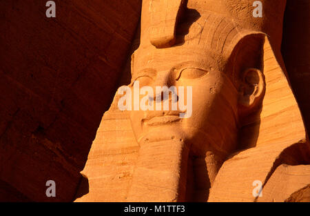 Statue of Ramesses II  at the Great Temple , Abu Simbel, Nubia, Upper Egypt - Stock Photo