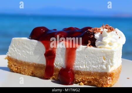 Homemade cherry cheesecake - Stock Photo
