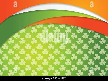 St. Patrick Day abstract vector background with Irish flag colors - Stock Photo