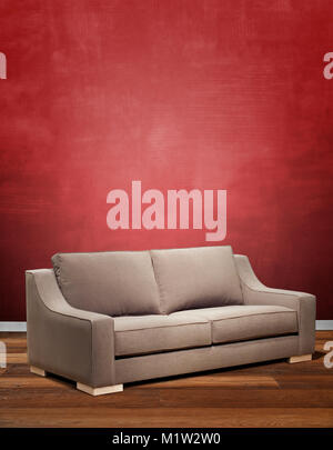 Hardwood floor with red wall, empty room for background Stock Photo ...