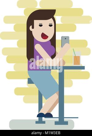 Girl sitting in the bar with phone and drinking a beer - Stock Photo