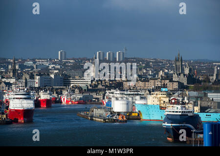 February 1st 2018: A view of Aberdeen harbour and city centre, Aberdeen, Scotland, UK . - Stock Photo