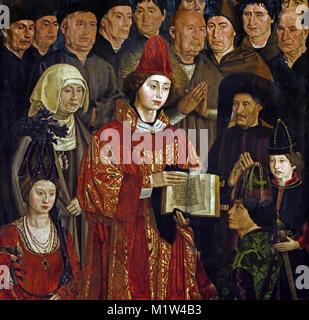 The Saint Vincent Panels - Adoration of Saint Vincent panels 1450 Nuno Gonçalves, who was active from 1450 to 1471 - Stock Photo