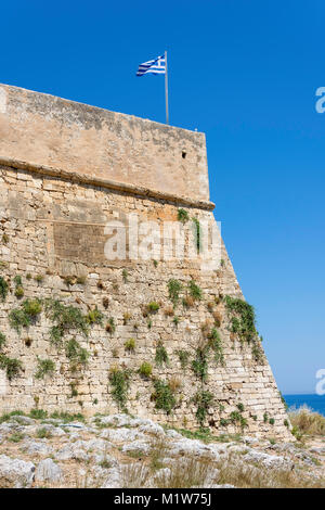Walls of The 16th century Venetian Fortezza, Rethymnon (Rethimno), Rethimno Region, Crete (Kriti), Greece - Stock Photo