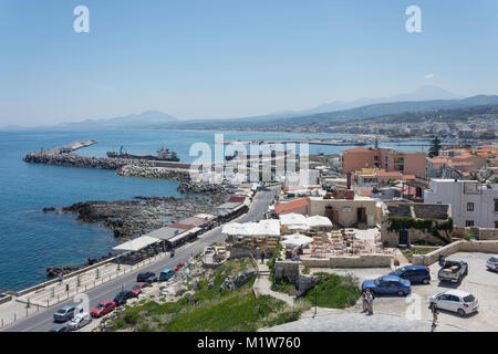 Rethymnon Harbour view from The 16th century Venetian Fortezza, Rethymnon (Rethimno), Rethimno Region, Crete (Kriti), - Stock Photo