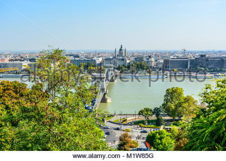 A view of Pest from the Buda Castle Hill Complex showing the promenade, the Danube River and Chain Bridge on a sunny - Stock Photo