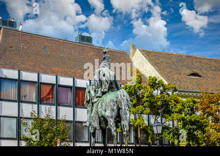 Equestrian statue of Andras Hadik, the Hussar of the Hussars, in Uri Utca on Castle Hill, Budapest, Hungary - Stock Photo