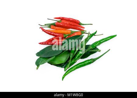 chili bullet combo isolated on white background - Stock Photo