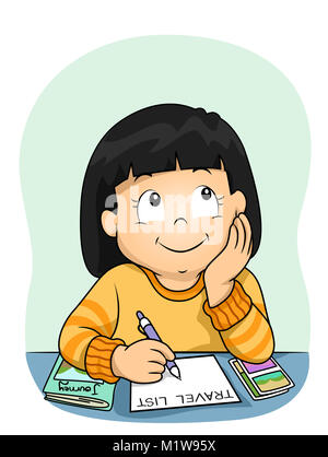 Illustration of a Kid Girl Thinking and Writing about Her Travel List - Stock Photo