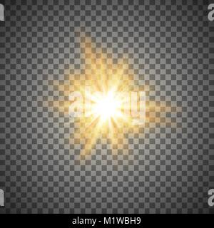gold shining star or flash isolated on a transparent background - Stock Photo