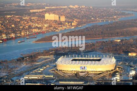 Rostov-on-Don, Russia. 1st Feb, 2018. Russian President Vladimir Putin takes an aerial tour of stadium facilities - Stock Photo