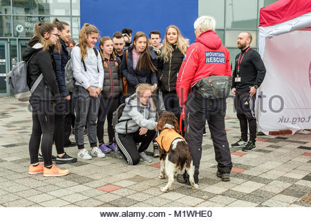 Middlesbrough College, UK. 1st Feb, 2018. The Cleveland Mountain Rescue Team joined with colleagues from Cleveland - Stock Photo