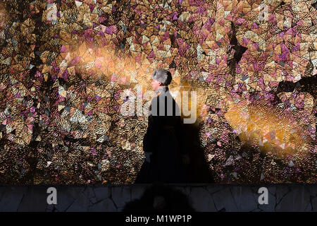 Volgograd, Russia. 2nd Feb, 2018. A soldier walks behind the Eternal Flame at the Battle of Stalingrad State Historical - Stock Photo