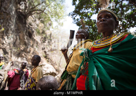Karamoja, Uganda. 31st Jan, 2018. Former ''cutters'' from the Pokot tribe stand together. They used to make 1,000 - Stock Photo