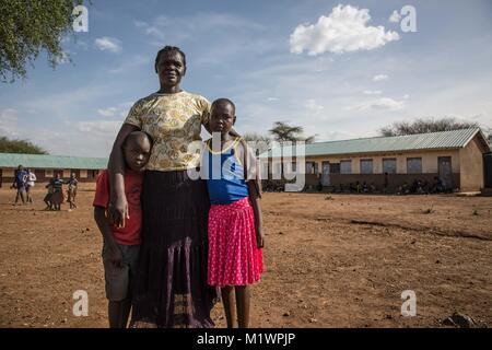 Karamoja, Uganda. 31st Jan, 2018. Nasimyu Mwanamis, the headteacher of Katabok Primary School, said without a fence - Stock Photo