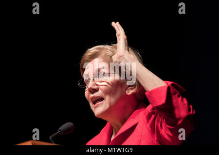 United States senator Elizabeth Warren, a Democrat from Massachusetts, speaks at a 15th anniversary fundraising - Stock Photo