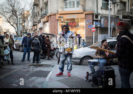 Tehran, Iran. 3rd Feb, 2018. Iranian young street musicians perform in downtown Tehran, capital of Iran, on Feb. - Stock Photo