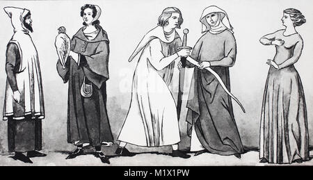 Clothing, fashion of men and women in France in the Middle Ages, in the 9th - 14th centuries, from the left, elderly - Stock Photo
