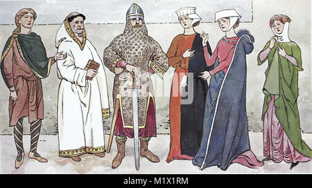 Clothing, fashion, England in the Middle Ages, English costumes, from the left, an Anglo-Saxon and a monk, 10th - Stock Photo