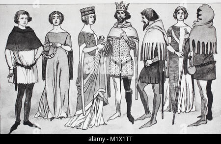 Clothing, fashion, costumes at court in France in the 14th century, from the left, a young man, girl in a long dress, - Stock Photo