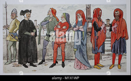 Clothing, fashion of the Italian early Renaissance, 14th century, in 1325-1350, from left, urban mercenaries, knights - Stock Photo