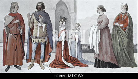 Clothing, fashion of the Italian early Renaissance, 14th century, in 1310-1350, from left, two Italian princes, - Stock Photo