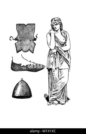 Clothing of the Teutons in Roman times and even older time, c.10 BC, the Germanin or so-called Thusnelda in the - Stock Photo
