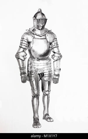 Fashion, clothing, knights armor in the late Middle Ages, German armor made of bright iron with movable body tires, - Stock Photo