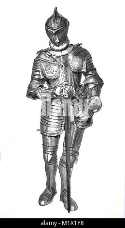 Fashion, clothing, armor in the late Middle Ages, Italian armor in rich etchings on bare iron, digital improved - Stock Photo