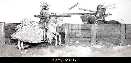 Fashion, clothing, knights armor in the late Middle Ages, lancet tournament or stinging over wooden barriers, on - Stock Photo