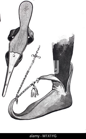 Fashion, clothing, footwear in the late Middle Ages in Europe, left, an extended shoe seen from below, right the - Stock Photo
