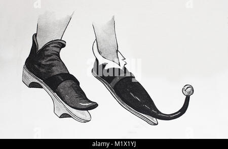 Fashion, clothing, footwear in the late Middle Ages in Europe, left, beak shoe with wooden pedestal shoe and a beak - Stock Photo