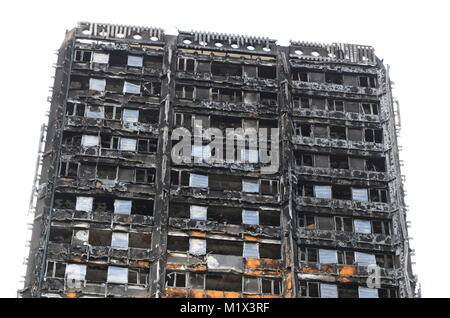 Grenfell Tower, fire, disaster, London, fire damage, High rise flats - Stock Photo