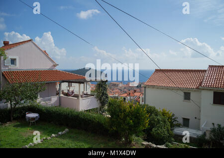 Residential Houses with View onto Old Town of Dubrovnik, Croatia - Stock Photo