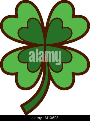 four leaves clover good fortune - Stock Photo