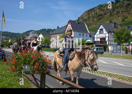 Horseback riding at riverside of Moselle river, Hatzenport, Moselle river, Rhineland-Palatinate, Germany, Europe - Stock Photo